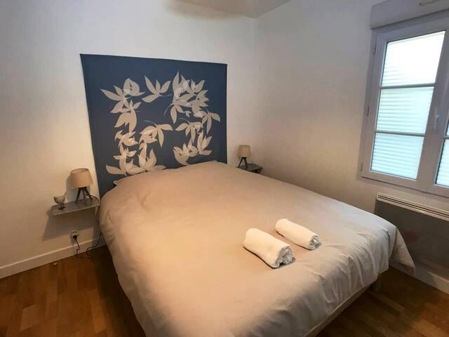 La chambre séparée dispose d'un grand lit de qualité BULTEX Queen Size (160x200). Elle est très calme car donnant sur une cour privative. Les draps et le linge de toilette sont fournis. Des volets électriques occultants sont incorporés dans la fenêtre ce qui vous  permettra d'avoir une obscurité complète pour bien dormir.