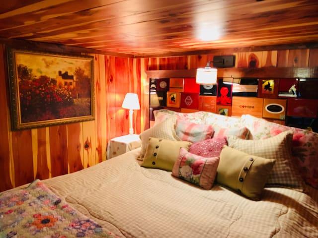 Cedar and Walnut Suite King Size Bed with Custom Cigar Box Headboard  by Monet's Garden.