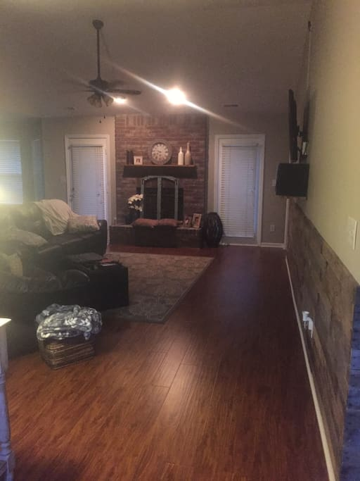 Large open living room and kitchen
