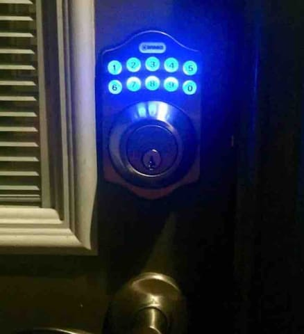 Digital keypad to conveniently come and go at your own private entrance door 24/7.
