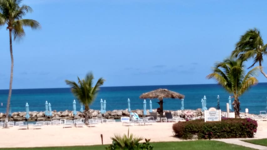 View of the Caribbean Sea and beach from our balcony