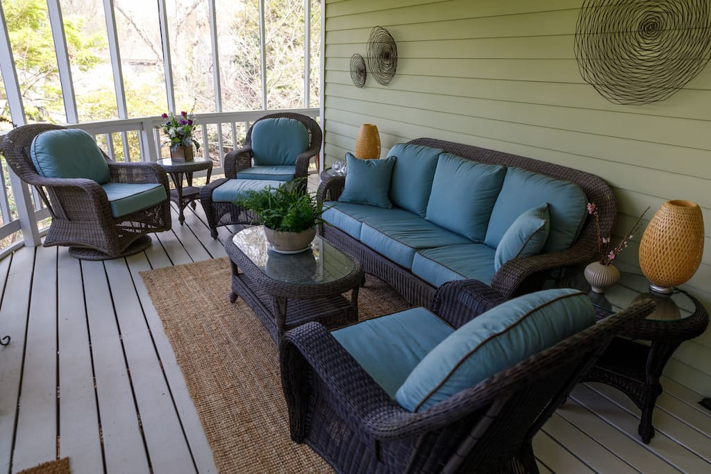 Back screen porch is wonderful any  time of year!