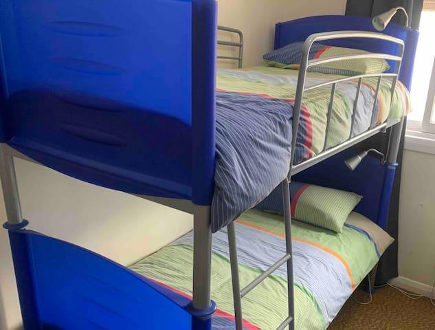 Second bedroom with 2 bunk beds - sleeps 4