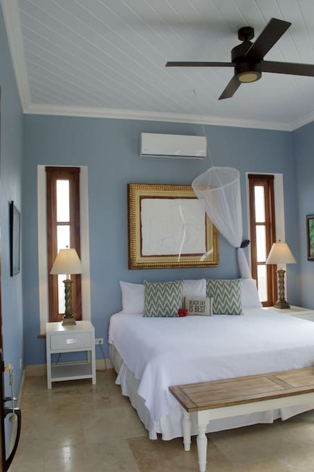 Your own private bedroom with a king bed and air conditioning.
