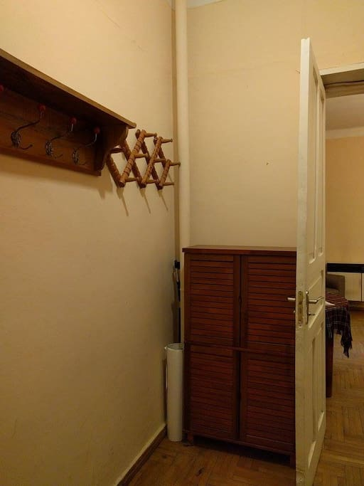 Entrance featuring hangers and shoe closet.