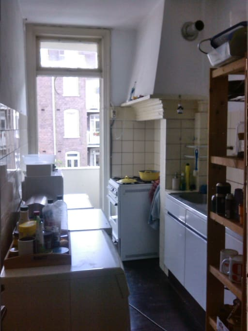 Kitchen with door to balcony