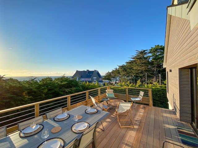 Villa-Cabane chic avec vue sur mer