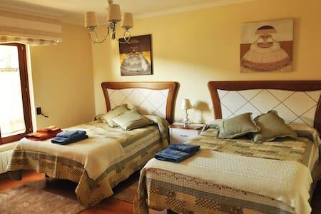 Gemütliches Zimmer mit zwei Doppelbetten