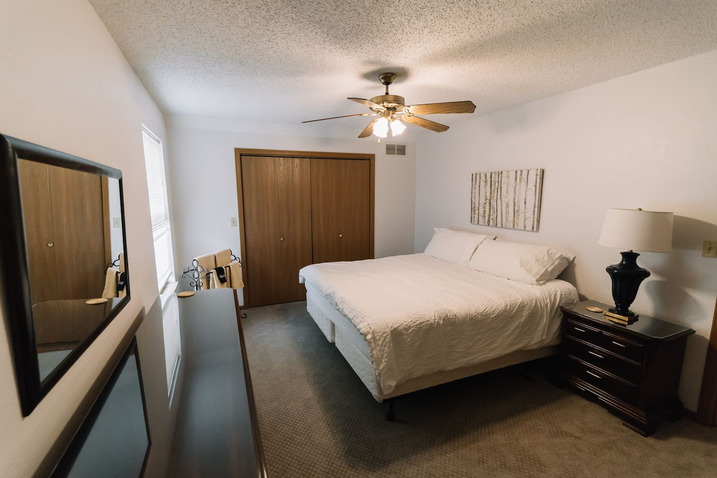 A spacious room to relax in. With a King size closet, plenty of room for 2 people, not to mention a  super comfy King bed you will have the best sleep of your life!