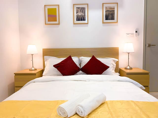 Modern, Comfortable and Beautiful Queen Size Bed in the bedroom - 2 person