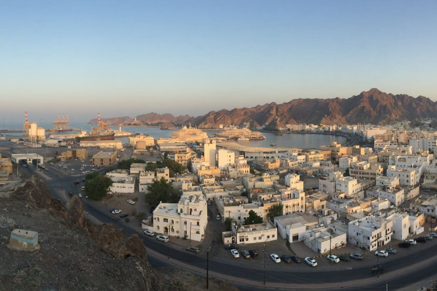 The Cresent Shaped Town of Muttrah at Sunset - Apartment is in Foreground, Cornice about 5-10 walk on the Waterfront