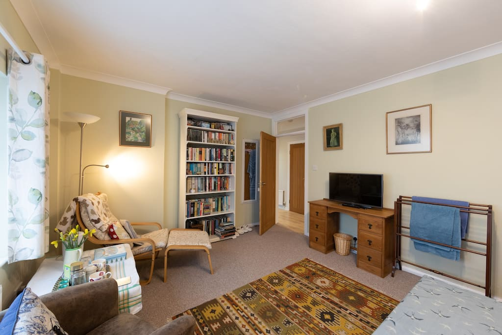 Double room, seating area; kettle, tea and coffee plus tele and plenty of children's DVDs. There is also a cupboard full of games and puzzles.