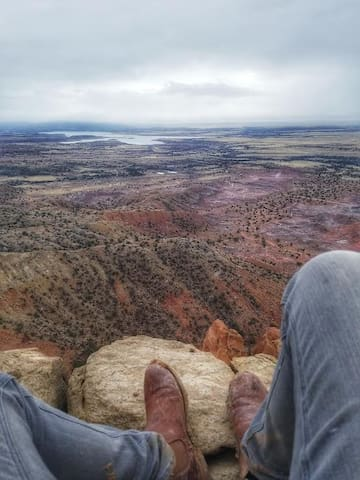 Looking over the valley from Chimney Rock at Ghost Ranch, 25 miles from our house.