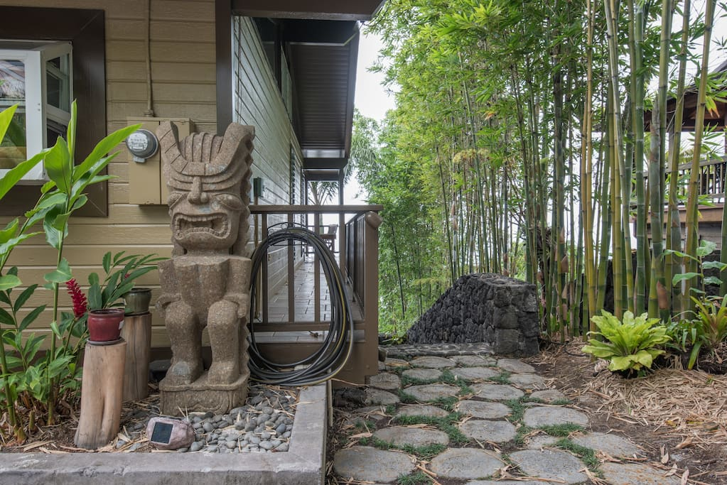 Tiki Joe greets you on  your way to your Suite.  He's carved of solid stone.