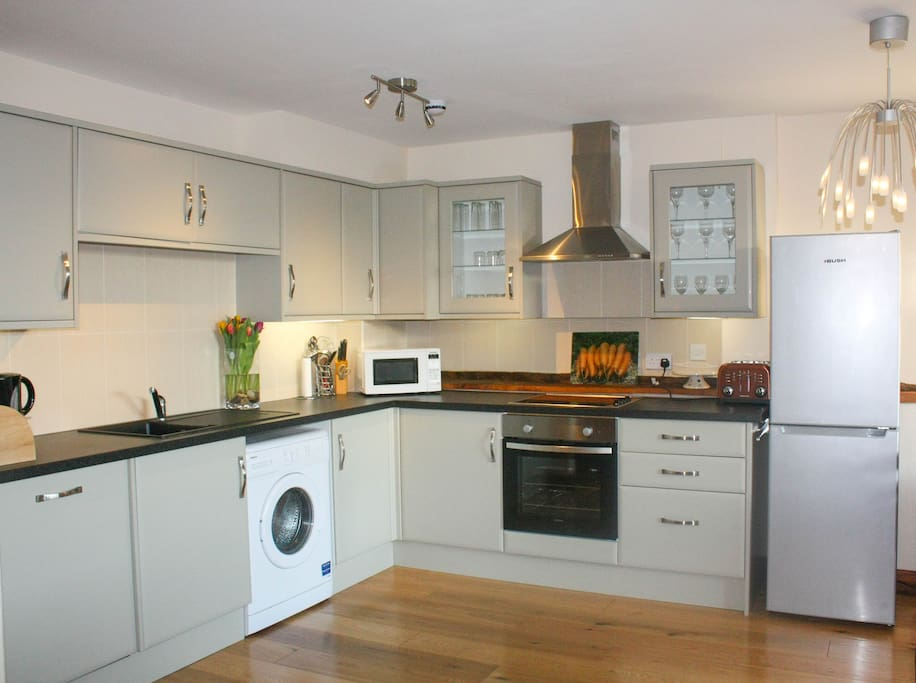 Fully fitted and well stocked kitchen. Well equipped for a self catering holiday