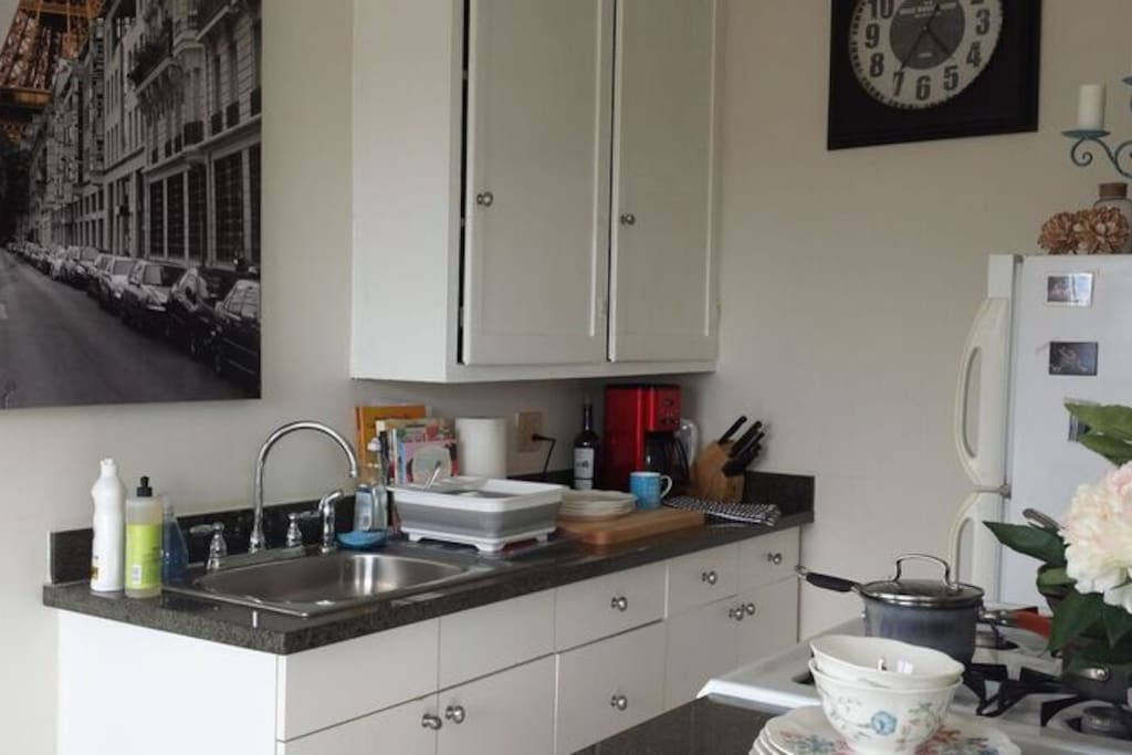 Separate fully stocked kitchen