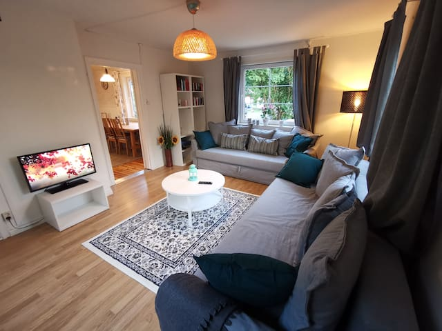 The ultra cozy living room with TV and chrome cast. You can easy bed the sofas and get 4 extra sleeping places.