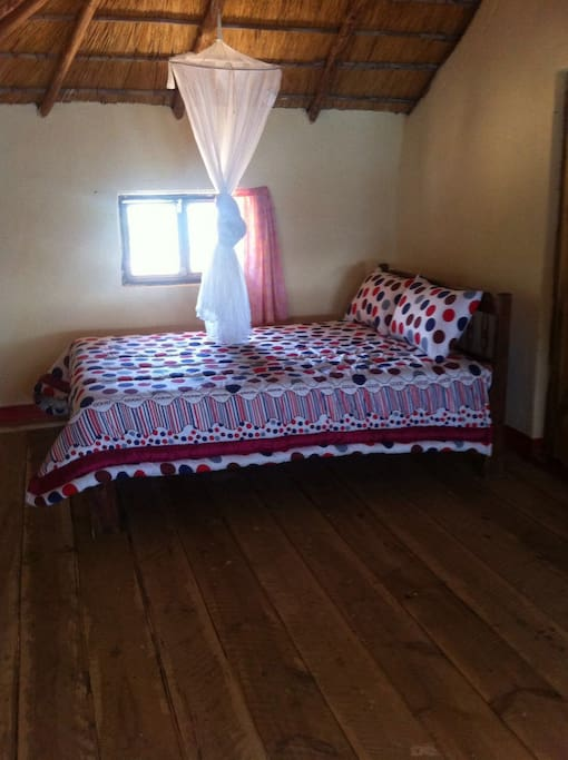 All 3 bedrooms have double beds with mosquito nets