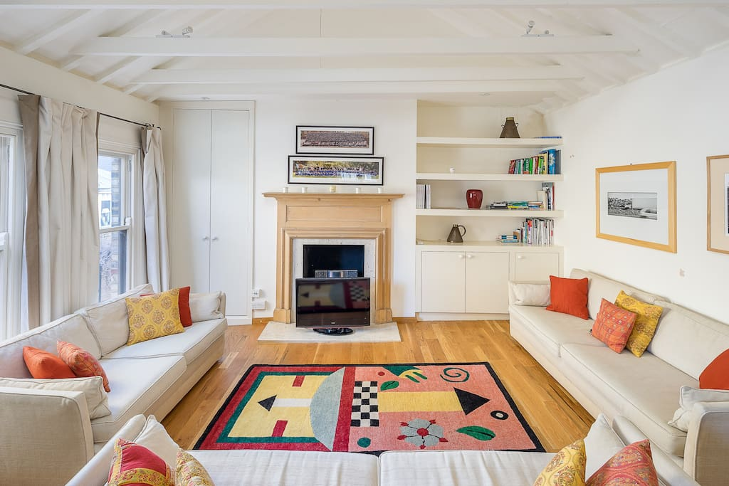 The bright and airy living area.