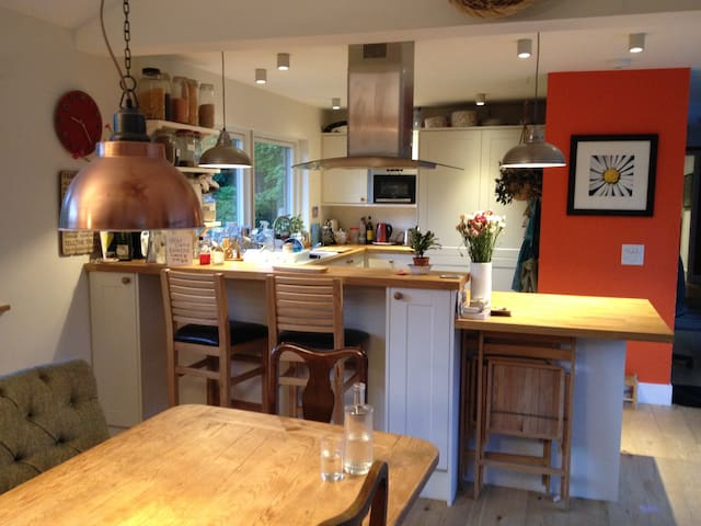 Open plan living, dining, kitchen areas