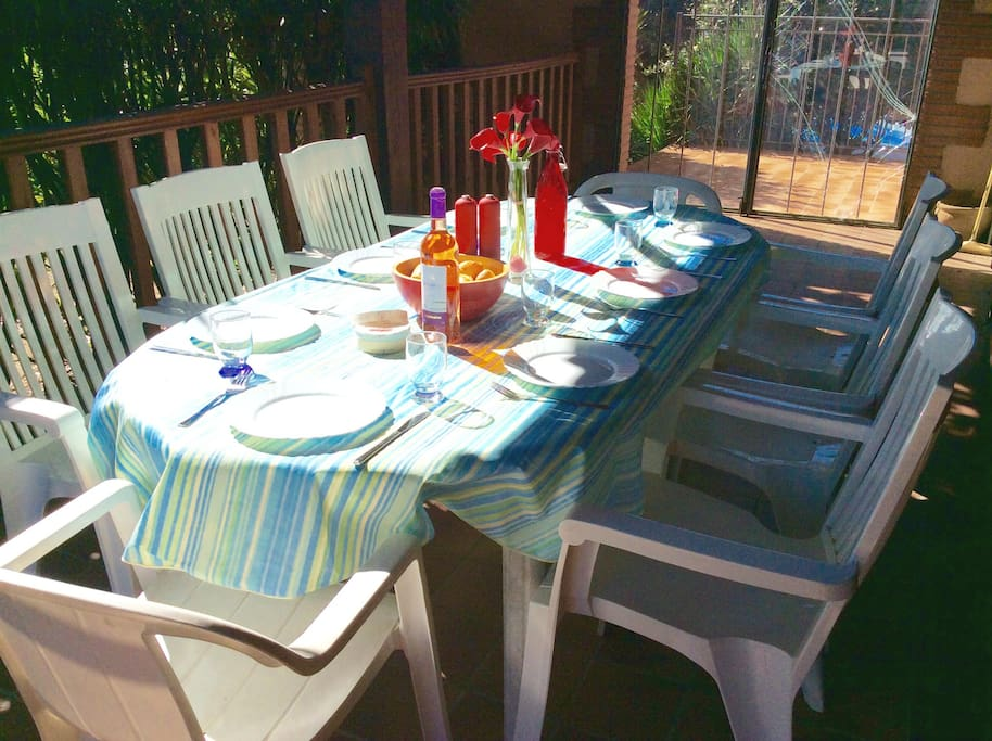 Shady terrace ideal for long lazy lunches.  New wooden dining table for 2016 - photos to follow