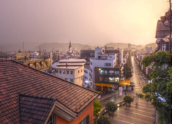 Rain and evening sun, view from the balcony.