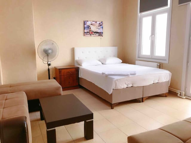 Spacious room in Taksim with a large balcony .