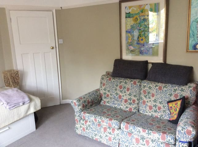 The room has a small sofa and foot rest, tv and gas fire.