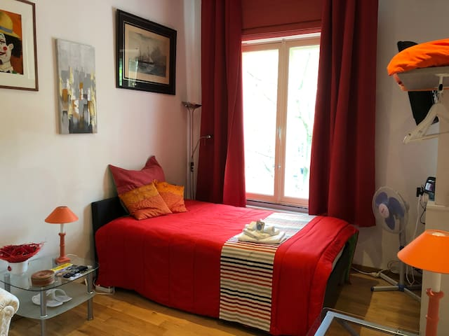 Very well equipped private single room with en-suite shower room and toilet