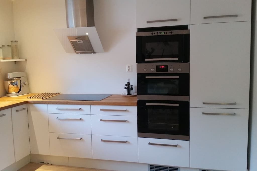 Kitchen with dish washer, two ovens and microwave
