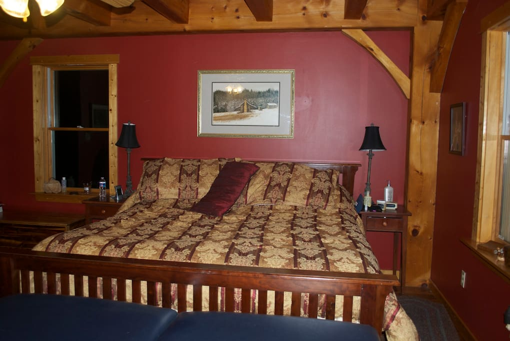 Master bedroom. Walk out to hot tub and deck