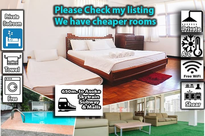 DK: Private Bath,9min to BTS/MRT Asoke,Share house
