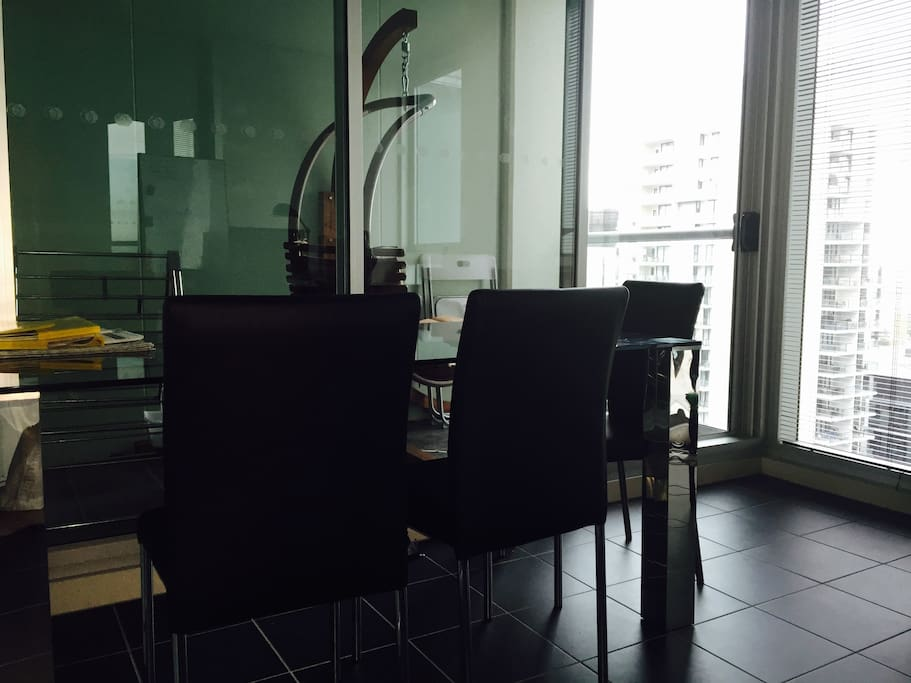 alfresco indoor blacony + outdoor balcony with hammock.