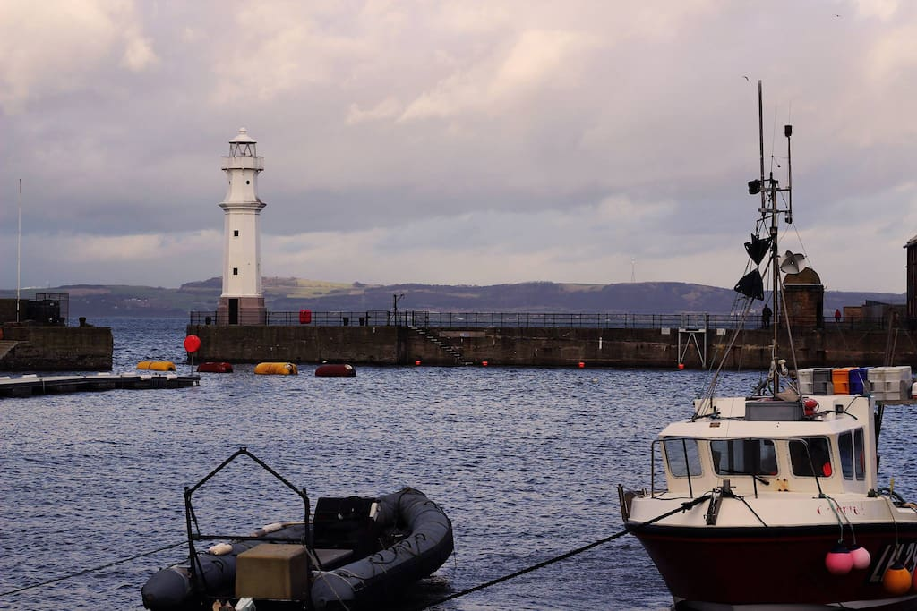 Walk along the pier for views across the Forth