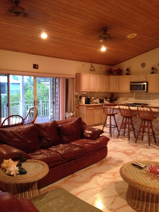 Open floor plan allows guests to interact from living, dining and kitchen spaces.