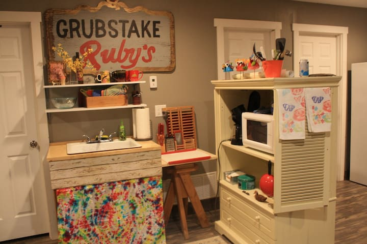 Grubstake Ruby's was our food booth at Oro City, which was a folk park near Colorado Mountain College in the late 1980s. Now, it's your kitchenette. A stove is not allowed by permit, but you will have a coffee maker, toaster, & outdoor propane grill.