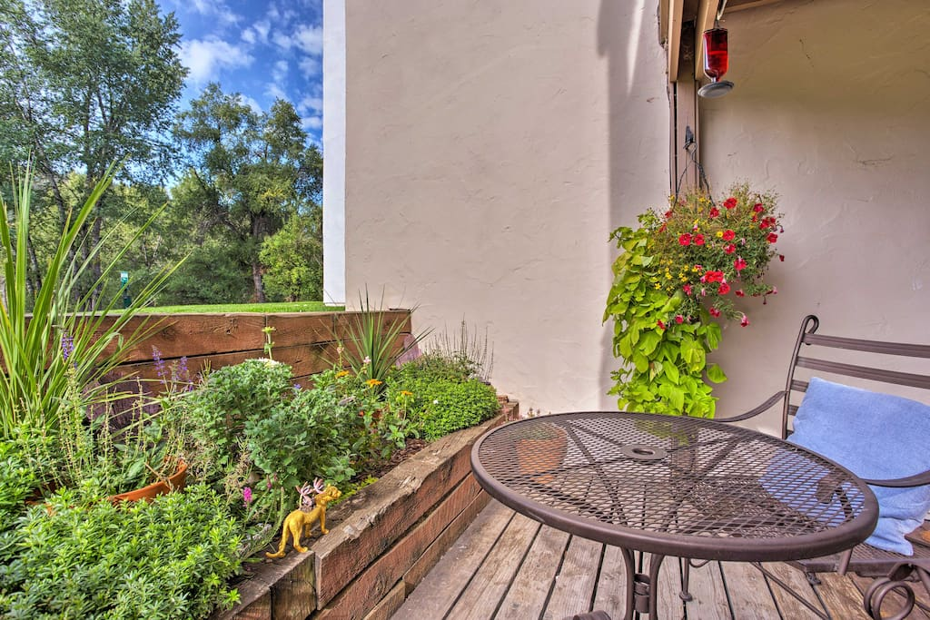 You can look forward to scenic views from the private patio!
