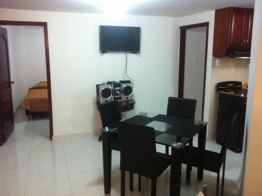 TV avalable in The dinning room area and WIFI also in all the apartment
