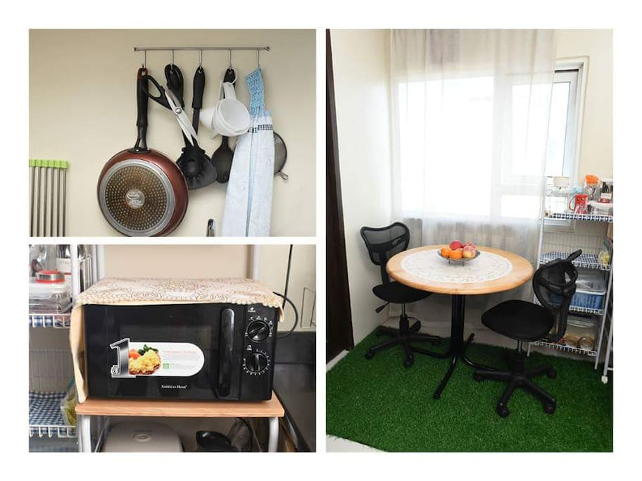 Comfortable dining and cooking facilities
