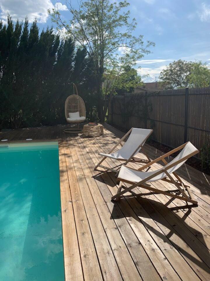 maison piscine et jardin au sud de toulouse