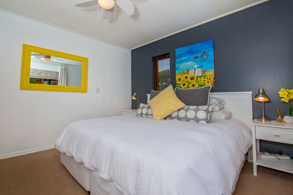 Spacious bedroom with super comfortable bed and silky soft linen. Lots of cupboard space