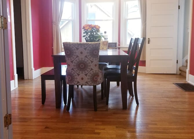 Dining room with bay windows for all kinds of natural light