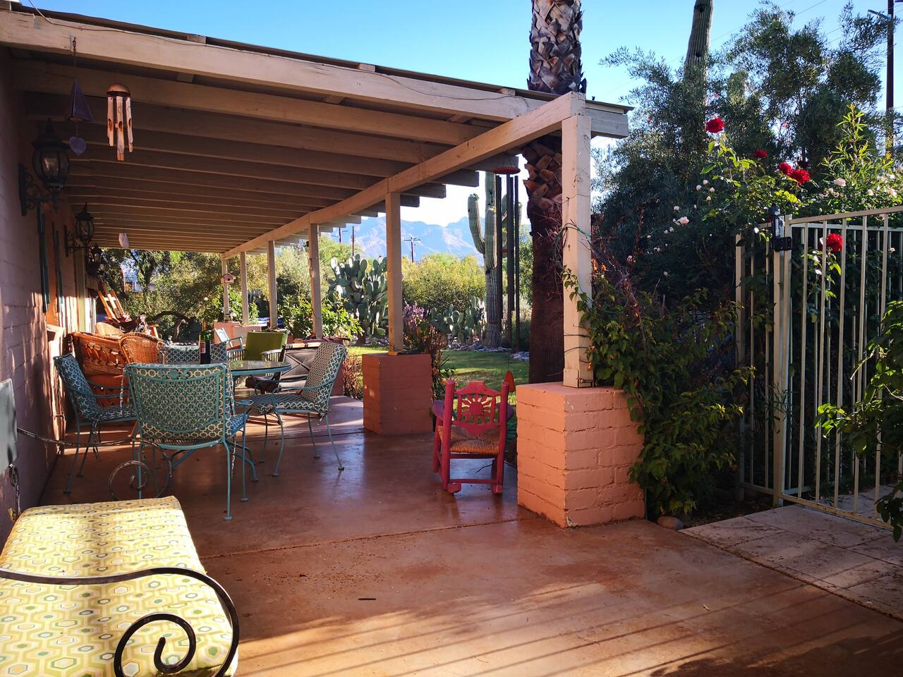 The long terrace facing east, great for watching the garden action!  The Catalina Mountains in view to the north.