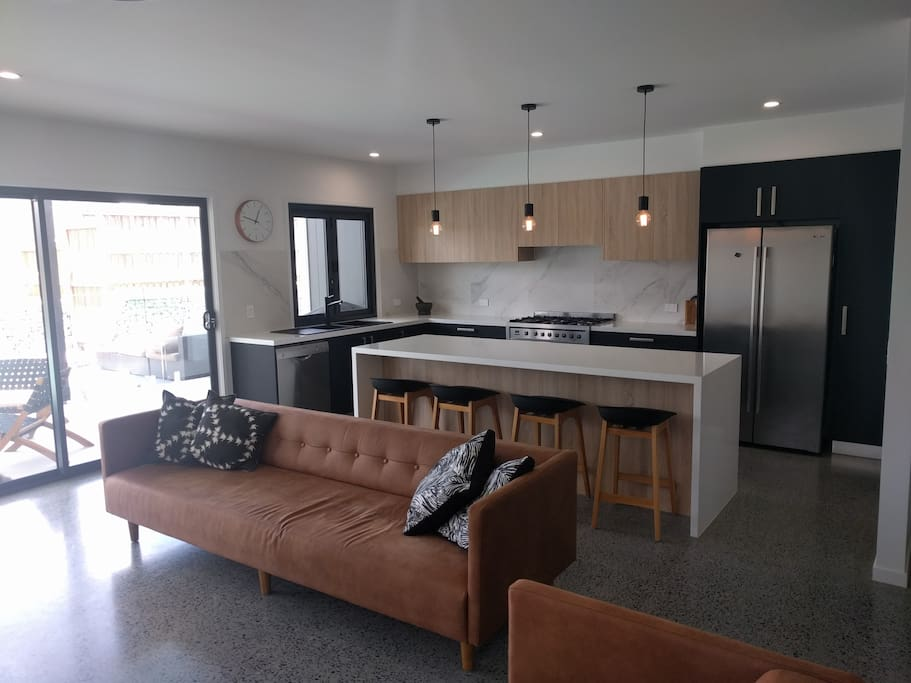 Open plan kitchen, lounge and dining