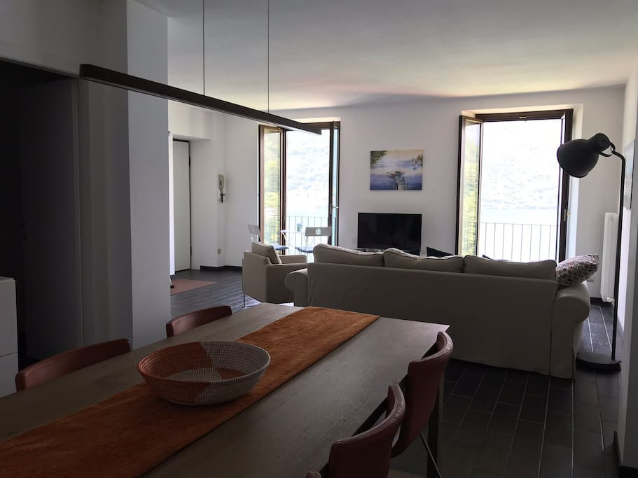 The open plan living and dining