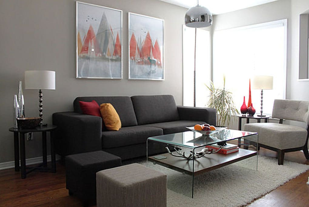 Stylish and clean living room space