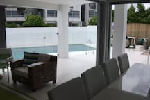 A view from the living area out onto the alfresco and pool area.