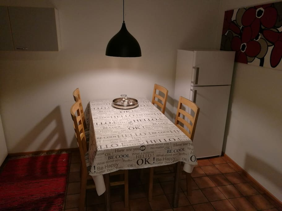 The dining area. There's an extra freeze and fridge in the apartment, should you stay longer.