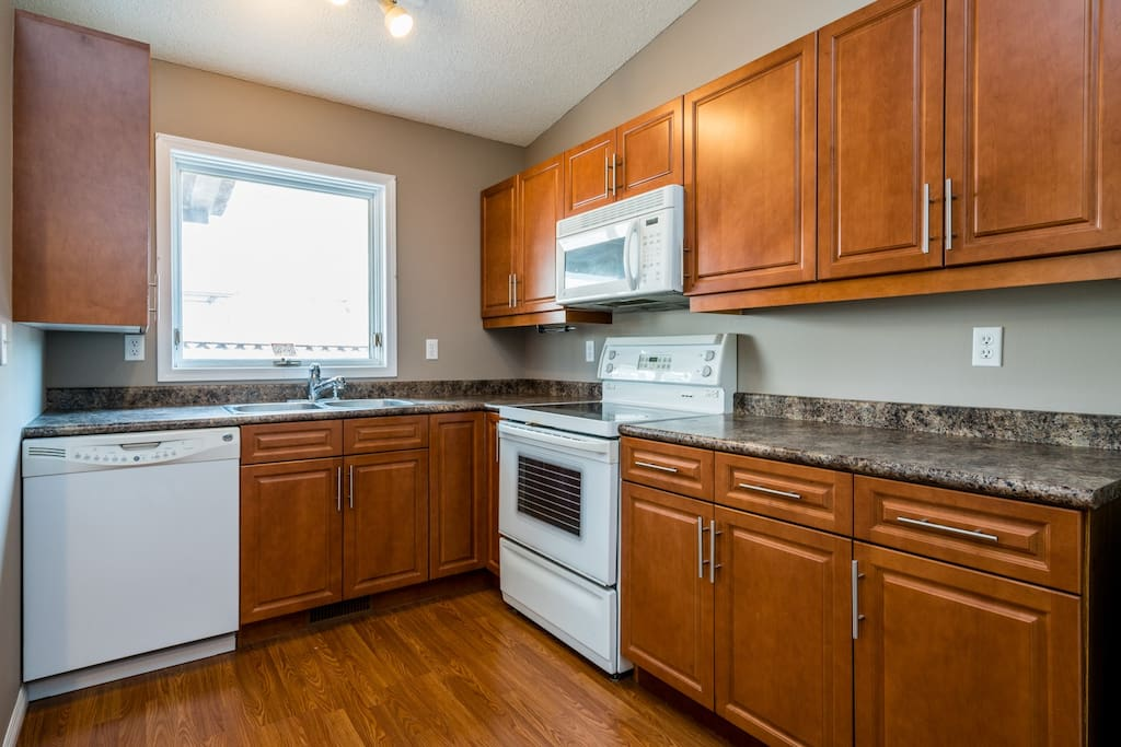 Kitchen with plenty of counter space and storage.