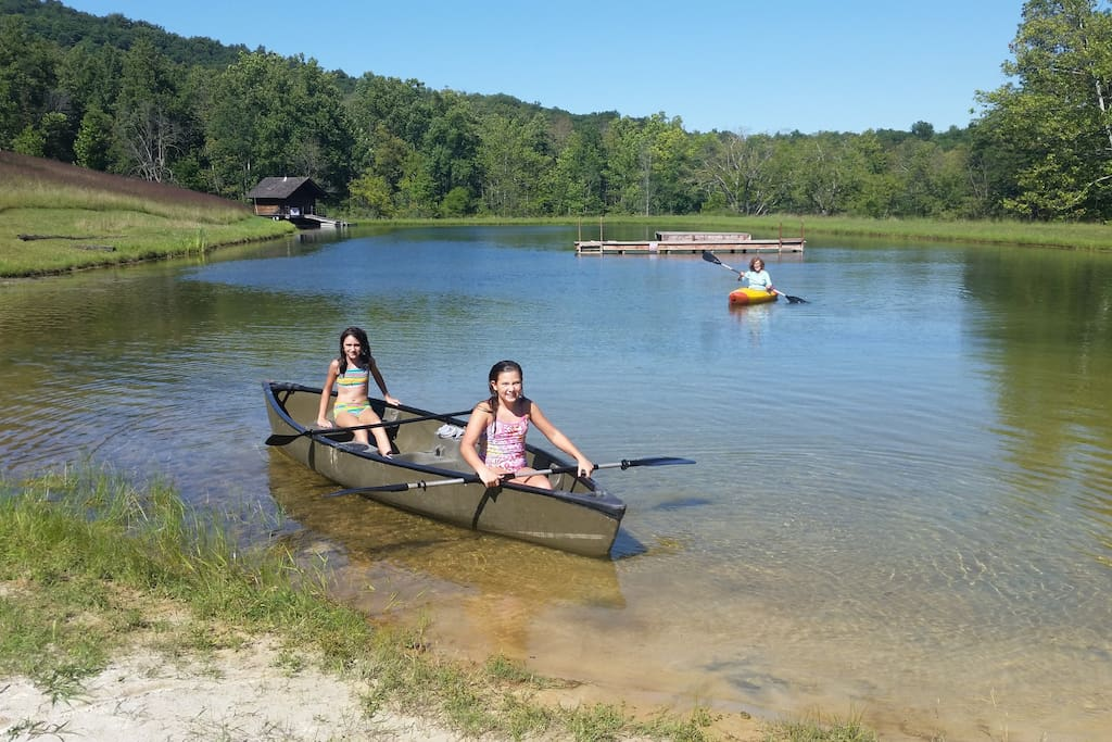 canoeing on the lake -- canoe provided as well as kayaks, paddles, and other flotation devices.